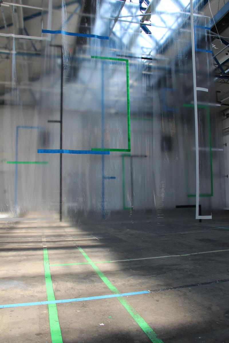 Untitled, 2012. PVC sheets, acrylic paints, H = 550 cm, W = 1300 cm, D = 2000 cm, Flottmann-Hallen, Herne (1st prize in the 2012 selection of works by artists from Herne)