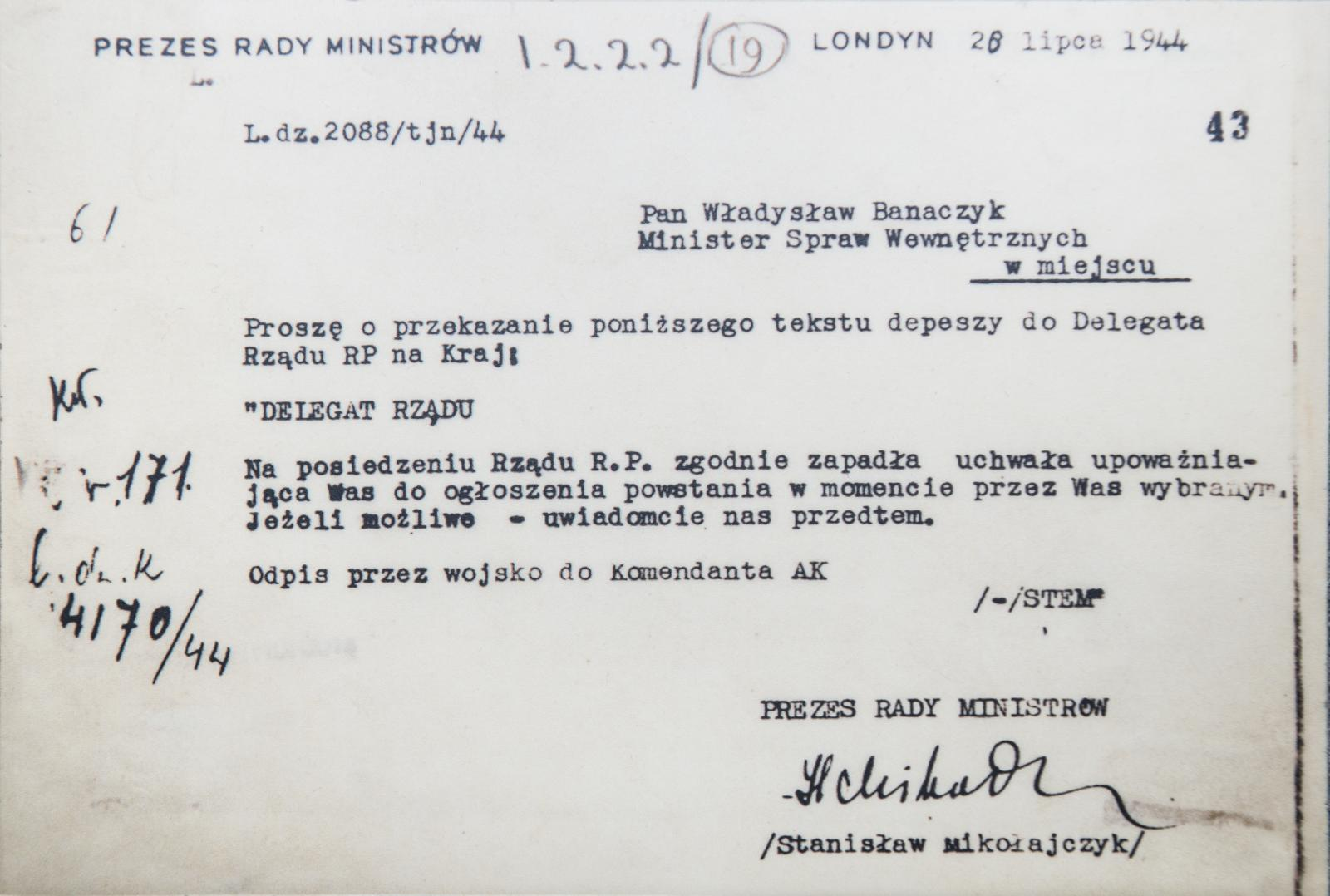 The telegram of der Polisch Exil Government in London to the leaders oft he Warsaw Rising 1944, 28. July 1944.