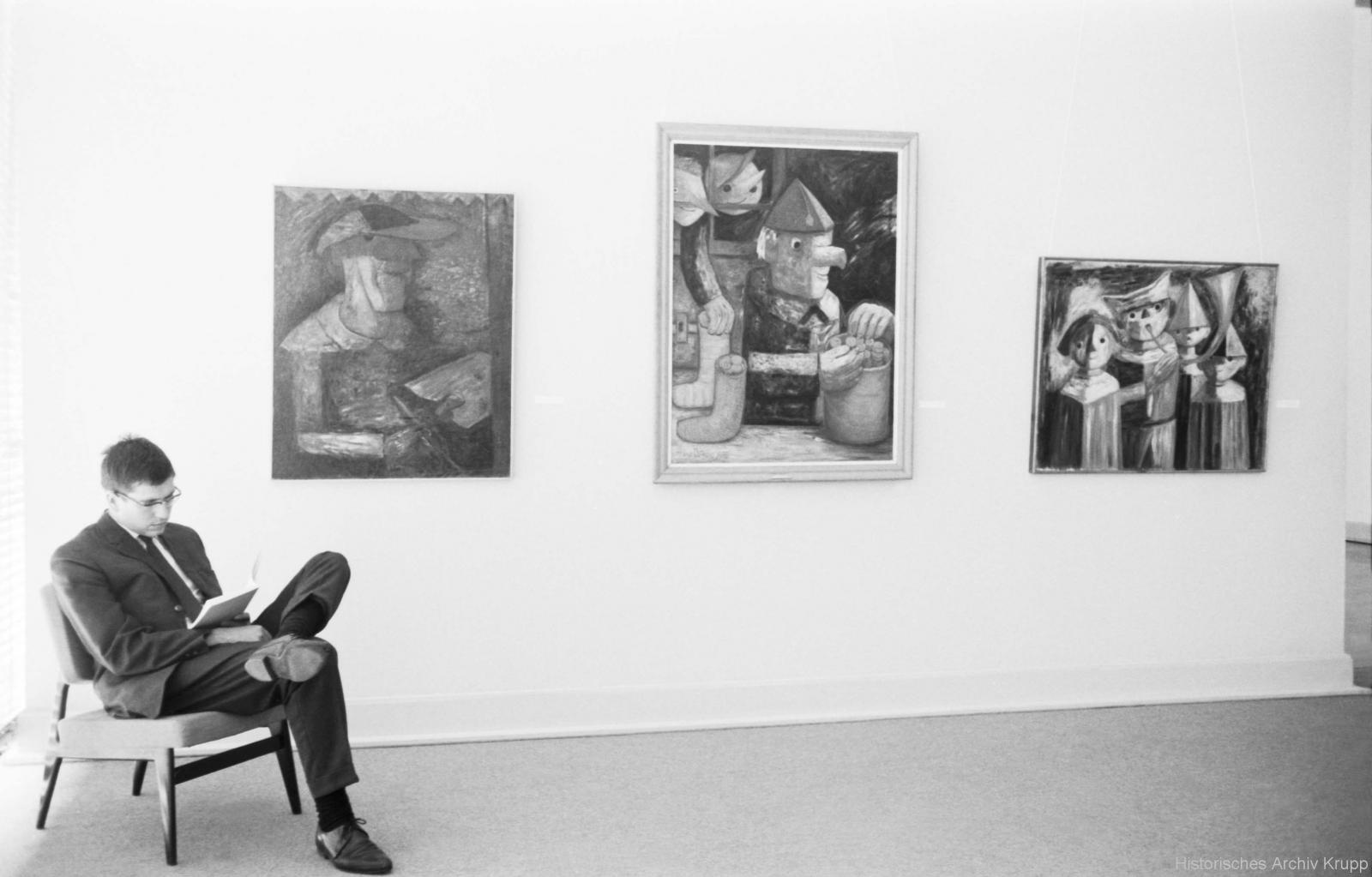 A look inside the exhibition with works by Tadeusz Makowski (1882-1932).(l. to r. Self Portrait, 1930; Miser, 1932; Four Children with a Trombone, 1929.
