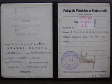Mitgliedskarte des Bundes der Polen in Deutschland von Josef Najdecki aus dem Jahr 1923, Kreis Gelsenkirchen, Abteilung Wanne-Eickel II, mit Stempel