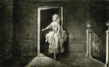 Daniel Chodowiecki, Fräulein Ledóchowska (Panna Ledóchowska), 1773, fototypia z albumu: Von Berlin nach Danzig. Eine Künstlerfahrt …, Berlin 1895. Oryginał w Akademie der Künste w Berlinie, nr inw. Chodowiecki 77.