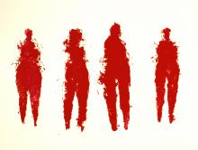 Karol Broniatowski: Vier rote Frauenfiguren, 1998. Gouache, 110 x 137 cm.