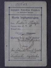 Mitgliedskarte der Turnorganisation Sokół (Falke) von Ludwik Najdecki aus Herne, Abteilung Eickel II und Holsterhausen, aufgenommen am 3.4.192,1 mit Stempel