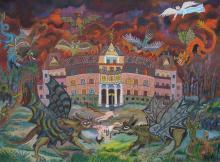 Bruno Podjaski (1915-1988): Monster fallen in Bukowiec ein, 1975. Öl auf Leinwand, 35 x 49 cm, Kunsthalle Recklinghausen.