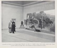 Kaiser Wilhelm II and Adolf v. Menzel in the workshop of the painter Adalbert von Kossak.
