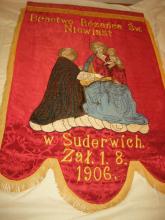 Fahne der Bruderschaft des Hl. Rosenkranzes der Frauen in Suderwich, gegründet am 1. August 1906, Schutzheiliger: der Heilige Josef – Leitspruch: Bete für uns