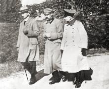 Józef Piłsudski i Kazimierz Sosnkowski podczas internowania w twierdzy magdeburskiej, 1918 r.