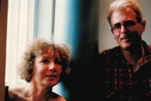 Janina Szarek i Krystian Lupa w czasie warsztatów teatralnych w Krakowie, 1996 r.