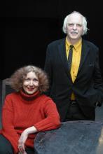 """Janina Szarek i Olav Münzberg po spektaklu """"Białe małżenstwo"""", 2005 r."""