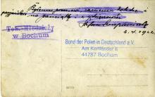 Polnische Jugendvereinigung (Towarzystwo Młodzieży) Bochum, 1922 (Rückseite)