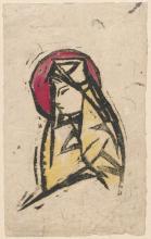 Stanisław Kubicki, Madonna I (z okrągłym nimbem), atrament chiński papier, 1917