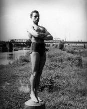 Józef Szajna in Maczków (Haren) an der Ems, 1946.
