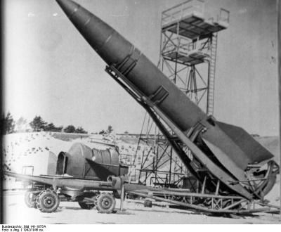 V2 rocket on the launch pad at Peenemünde