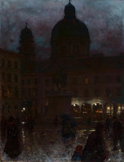 Aleksander Gierymski (1850-1901): Wittelsbach square in Munich by night, 1890. Oil on canvas, 67 x 52 cm.