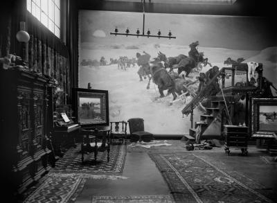 Carl Teufel: Alfred Wierusz-Kowalski's artist atelier, Munich 1889. Black and white photograph from glass negative, 18 x 24 cm, Foto Marburg image archive, Image No.: 121.688, Digitisation 2013