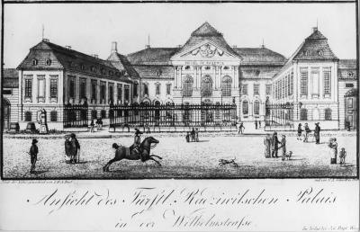 """Radziwill Palais"" in Wilhelmstrasse 77 (today no. 93) (1736 - 1739 erected under the direction of the Royal Building Commission as the Palais Schulenburg; from 1795 onwards in the position of the Radziwiłł princes; from 1875 onwards in possession of the German Reich; from 1878 onwards the official seat of the Reich Chancellor)   Etching by F.A. Schmidt after a drawing by J.H.A. Forst, ca 1820"