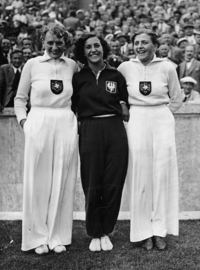 "The victors in the javelin at the Olympic Games, from left to right: Othilie ""Tilly"" Fleischer (gold), Maria Kwaśniewska (bronze) and Luise Krüger (silver), Berlin 1936."