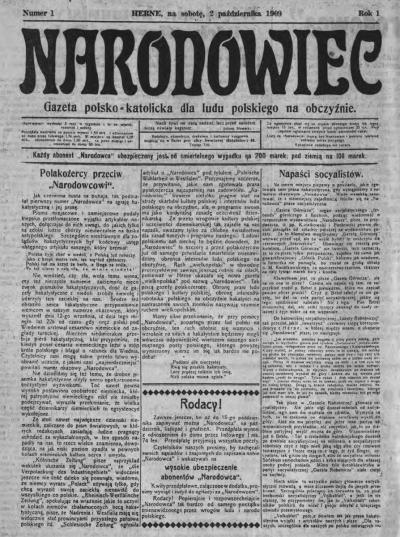 "Cover page of the first edition of ""Narodowiec"", Herne, 2 October 1909"