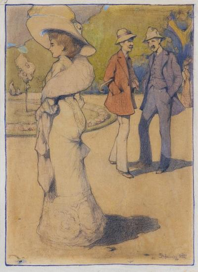 In the Park/W parku, Munich or Lwów 1910. Watercolour over pencil on board, 46 x 33 cm, signed bottom right: Stefanowicz [1]910, at auction (Agra Art, Warsaw 2019)