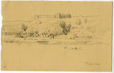 Roman Kochanowski, Trembowla, 1890-1900, drawing, pencil on paper, 14 x 22 cm