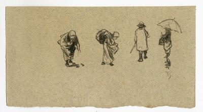 Roman Kochanowski, page from a sketch book showing four figures, pencil on paper, 8.4 x 15.7 cm