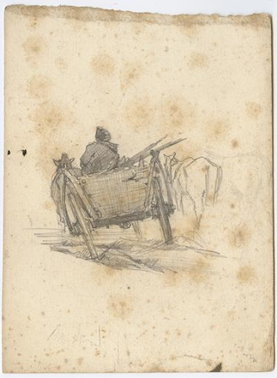 Roman Kochanowski, page from a sketch book showing a peasant's horse and carriage in motion, pencil on paper, 15 x 11 cm
