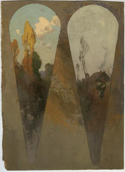 Roman Kochanowski, two fan leaves, drafts, oil on paper, 28.7 x 26.4 cm