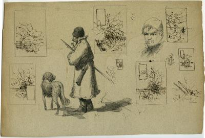 Roman Kochanowski, illustrations, Hunter with a dog and a man's head, drafts, pen and ink on paper, 20.6 x 29.5 cm