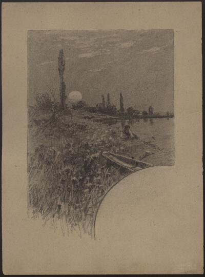Roman Kochanowski, Girl on the shore of a lake, cover page, draft, black chalk on board, 32 x 23.6 cm