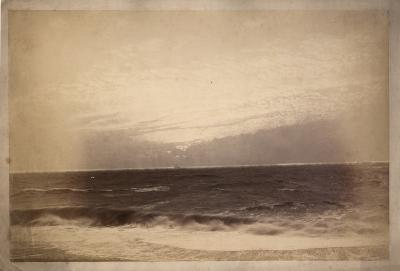 Roman Kochanowski, Seascape with sailing ship in a roadstead, photo, photographic paper on board, 28.5 x 42.3 cm