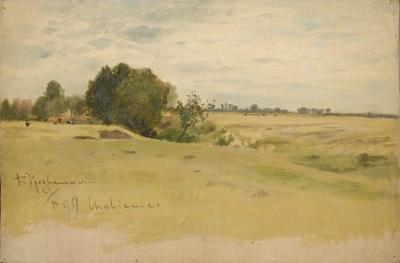 Roman Kochanowski, Landschaft mit Kühen, 1899, oil on canvas, 20 x 30.5 cm