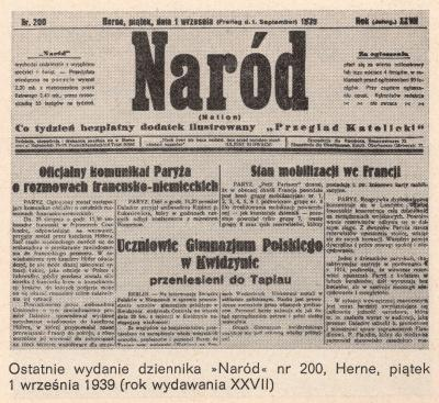"Cover page of the last edition of ""Naród"""