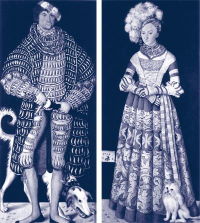 Henry the Pious of Saxony and his Wife Katherine of Mecklenburg after Lucas Cranach the Elder, 2003. Inkjet print on paper, 40 x 20 cm.