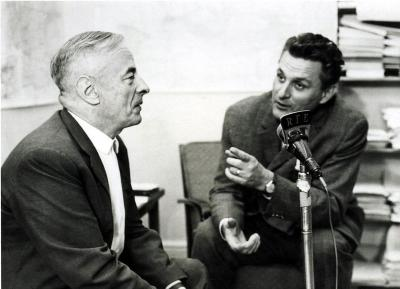 Witold Gombrowicz's gives the Polish journalist Tadeusz Nowakowski an interview for Radio Volna Europe / Radio Free Europe, Berlin, 22.9.1963