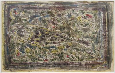 Fish on an abstract background, ca. 1948, watercolour