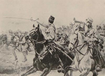 "Bayonet Charge by the Kaiserjäger, pre-1886. Illustration from Kossak's ""Memoirs"""
