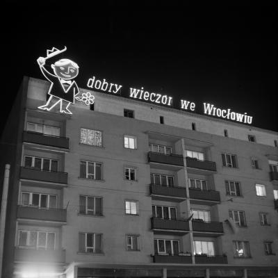 Residential and commercial building on Piłsudski Street in Wrocław, 1965.