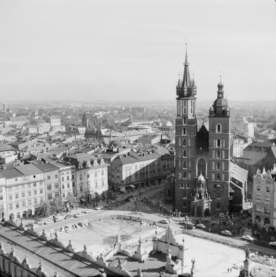 St. Mary's Basilica at Main Market Square in Kraków, 1963.