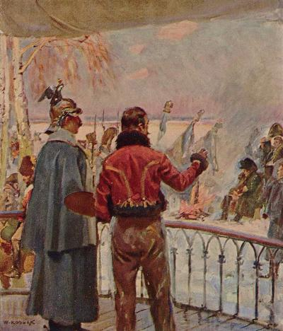 "The First Meeting, 1912. Illustration from Kossak's ""Memoirs"""