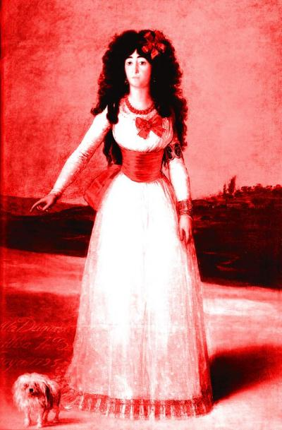 Portrait of the Duchess of Alba (red) after Francisco de Goya, 2003. Inkjet print on paper, 29 x 19 cm.