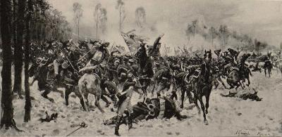 "A Battle in front of the Forest of Étoges, 1898. Illustration from Kossak's ""Memoirs"""