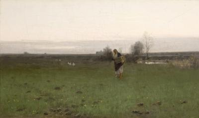 Roman Kochanowski, Landschaft bei Krakau, 1886, oil on canvas, 33 x 54.7 cm