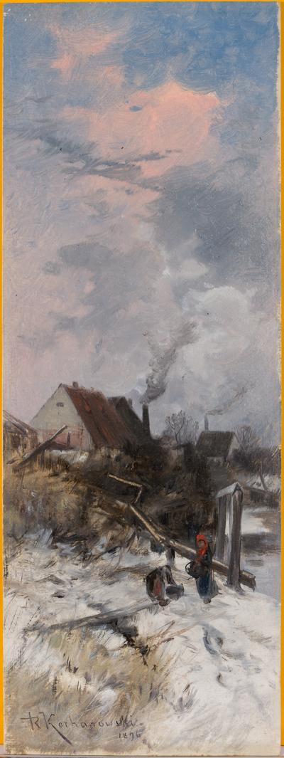 Roman Kochanowski, Dorflandschaft [im Winter], 1896, oil on paper, 102 x 29 cm