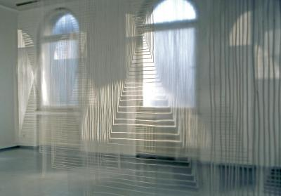 Untitled, 2006. (interior:) 32 transparent sheets, hand drawing with paint stick, each 280 x 120 cm