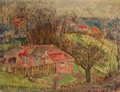 Lena Pillico (Pilichowska): Cottages in the Country, 1932. Öl auf Leinwand, 50,5 x 65 cm, Ben Uri Collection, London