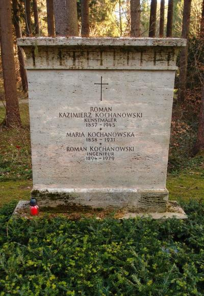 Roman Kochanowski's grave, resting place in the forest cemetery in Munich, 2015