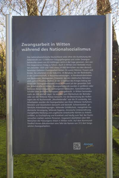 Informationstafel zur NS-Zwangsarbeit in Witten