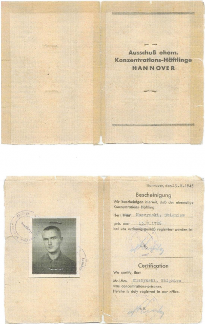 Zbigniew Muszyński: Certificate of former concentration camp inmates.