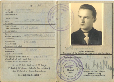 Zbigniew Muszyński´s student card from the Polish Academy of Technology in Esslingen Neckar.