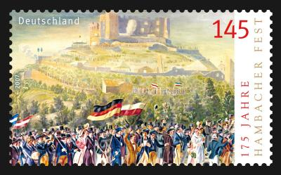 "A special postage stamp issued by the German Postal Service to mark the anniversary of ""175 Years Hambach Festival"""